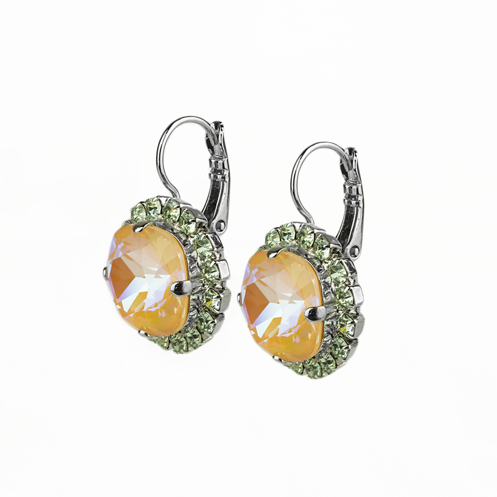 """Photo of Cushion Cut Cluster Leverback Earrings in """"Monarch"""" *Preorder*"""