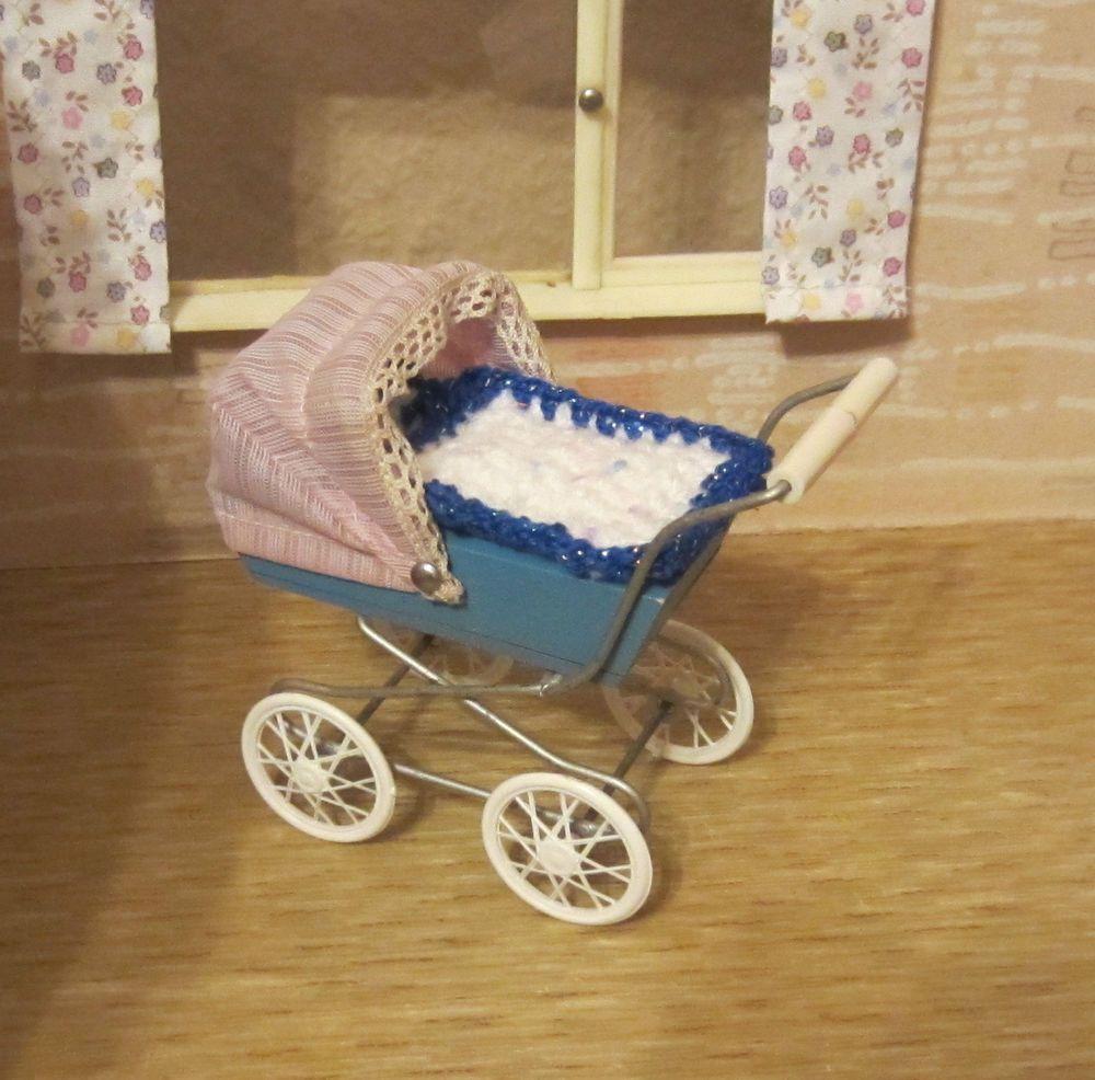 f r puppenstube puppenhaus alter puppenwagen puppenstubenwagen miniature pram puppen. Black Bedroom Furniture Sets. Home Design Ideas