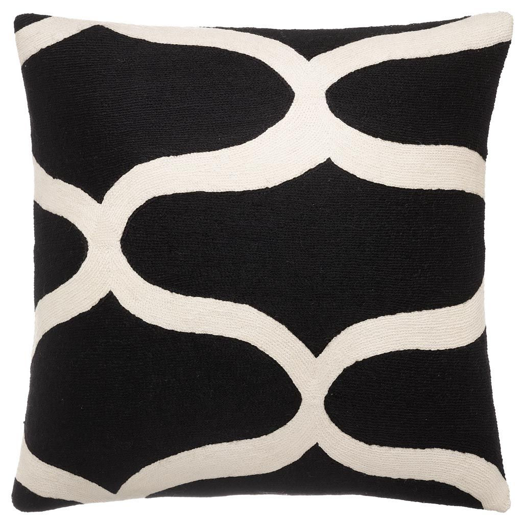 Judy Ross Textiles Hand-Embroidered Chain Stitch Waves Throw Pillow black/cream