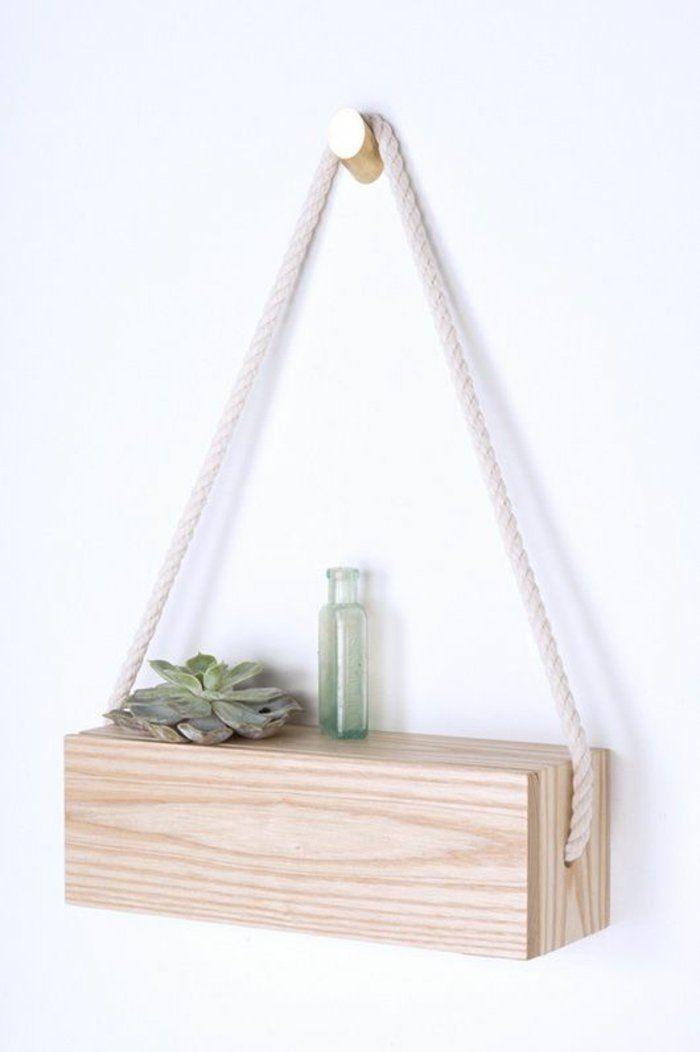 Wandregal selber bauen anleitung  regal selber bauen pflanze glasvase seil weiße wand wandregal aus ...