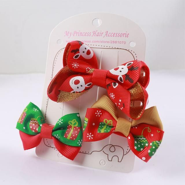 Cute Christmas Hair Bows For Girl Christmas hair bows, Christmas
