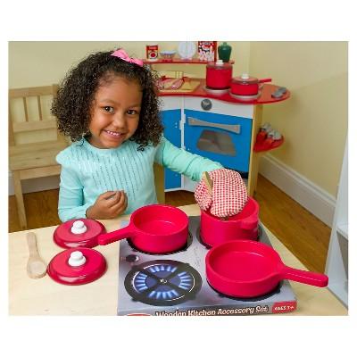 Fantastic Melissa Doug Deluxe Wooden Kitchen Accessory Set Pots Home Remodeling Inspirations Propsscottssportslandcom