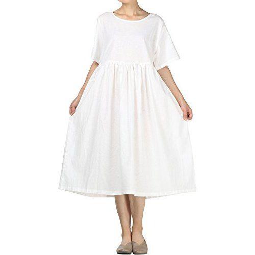 93289b07c9 Mordenmiss Women s Linen Cotton Dress Summer Midi Dresses with Pockets (M  White)