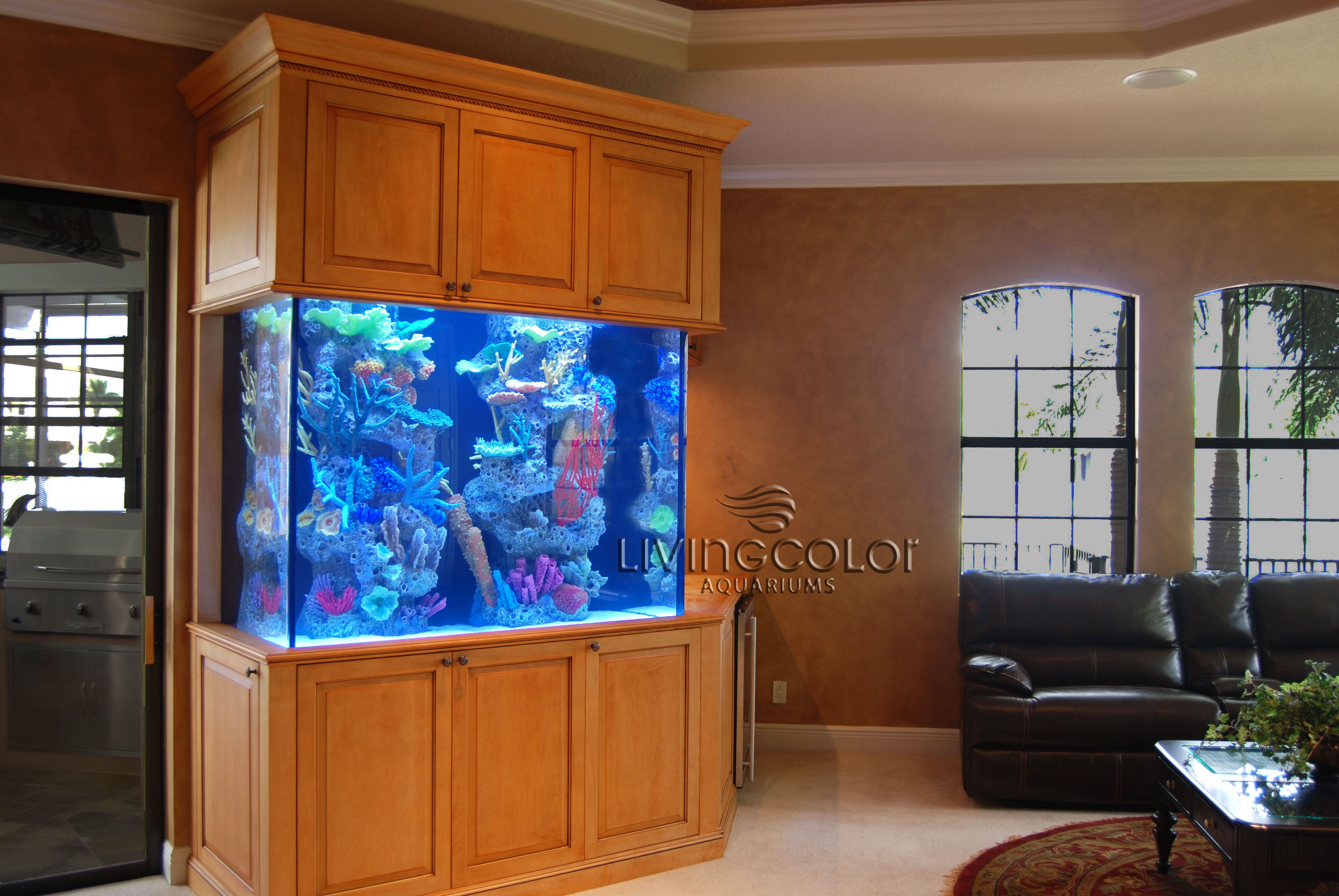 Marine fish aquarium using Panorama LED lights installed by Living