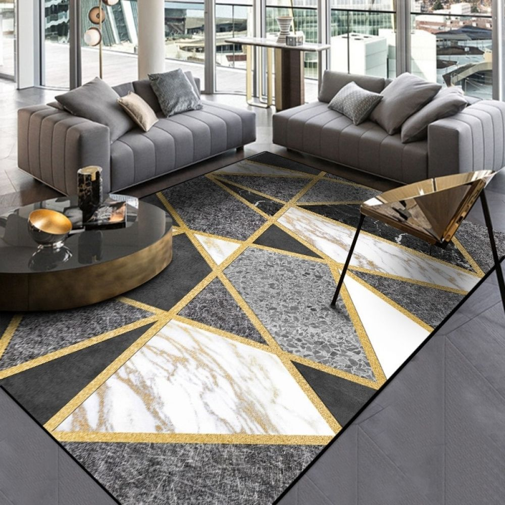 Fashion Modern Metal Golden Carpets Grey Black Geometric Bedroom Area Rugs Living Room Carpet Parlor Tapete Decorative Floor Mat Gold Living Room Black And Gold Living Room Living Room Carpet