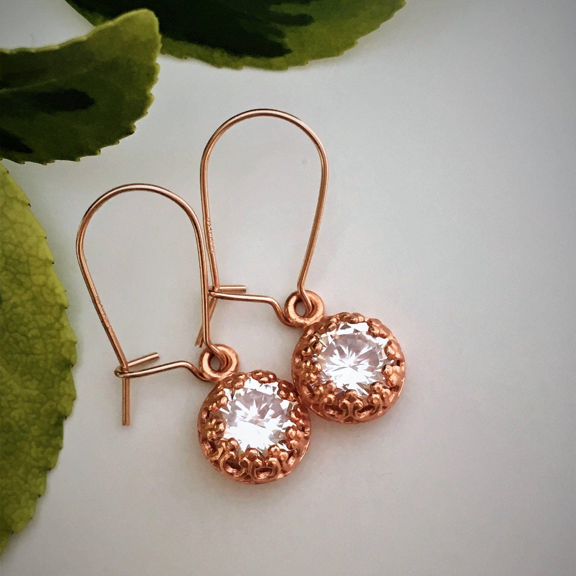 Love Dangle Bronze Earring Green Zircon Earring Bow Long Wedding Earring Birthday Dangle Earring Antique look Earring,Love Gift  Earring