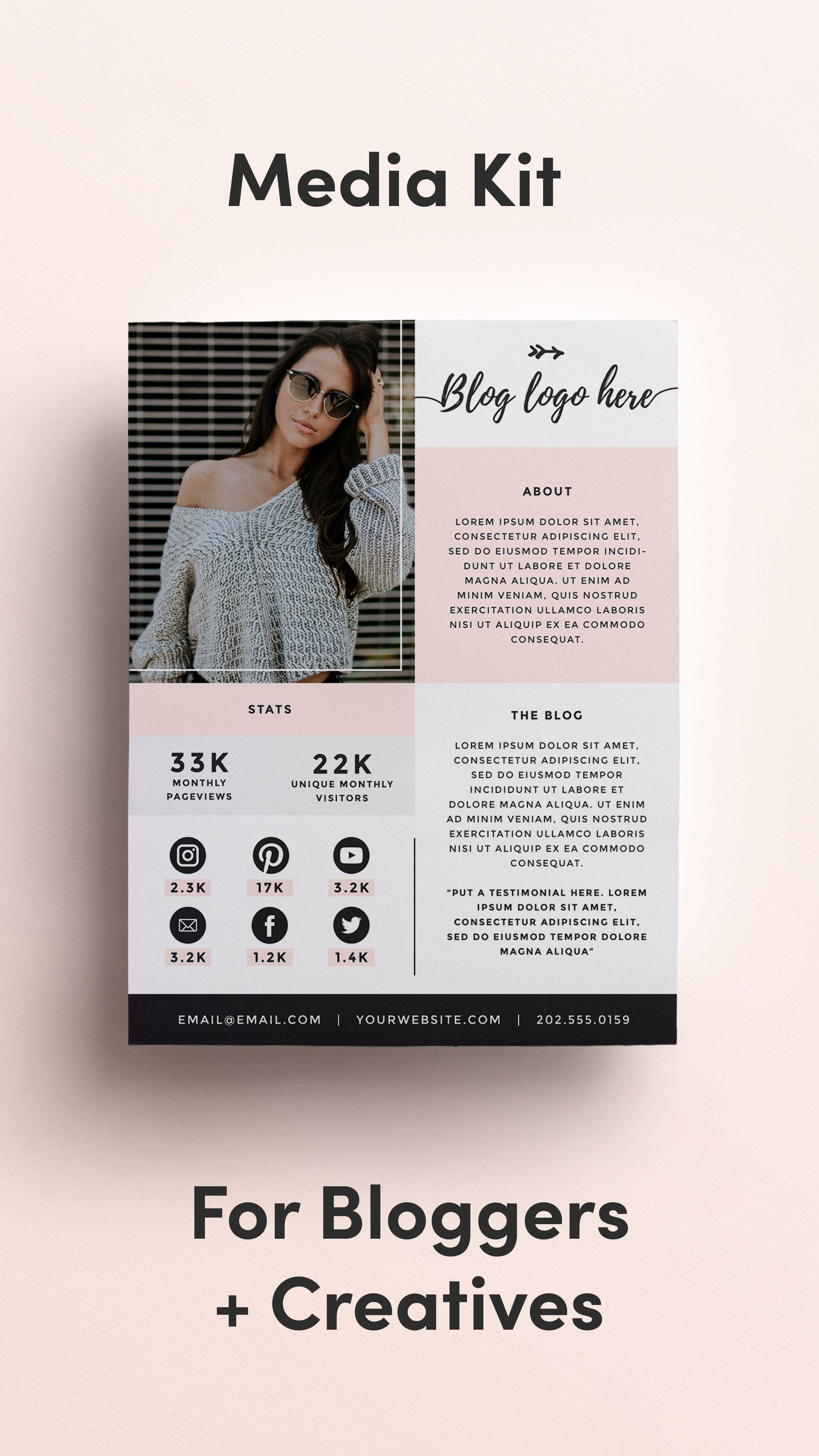 Media Kit Template For Bloggers Price List Press Kit Etsy Media Kit Template Media Kit Media Kit Design