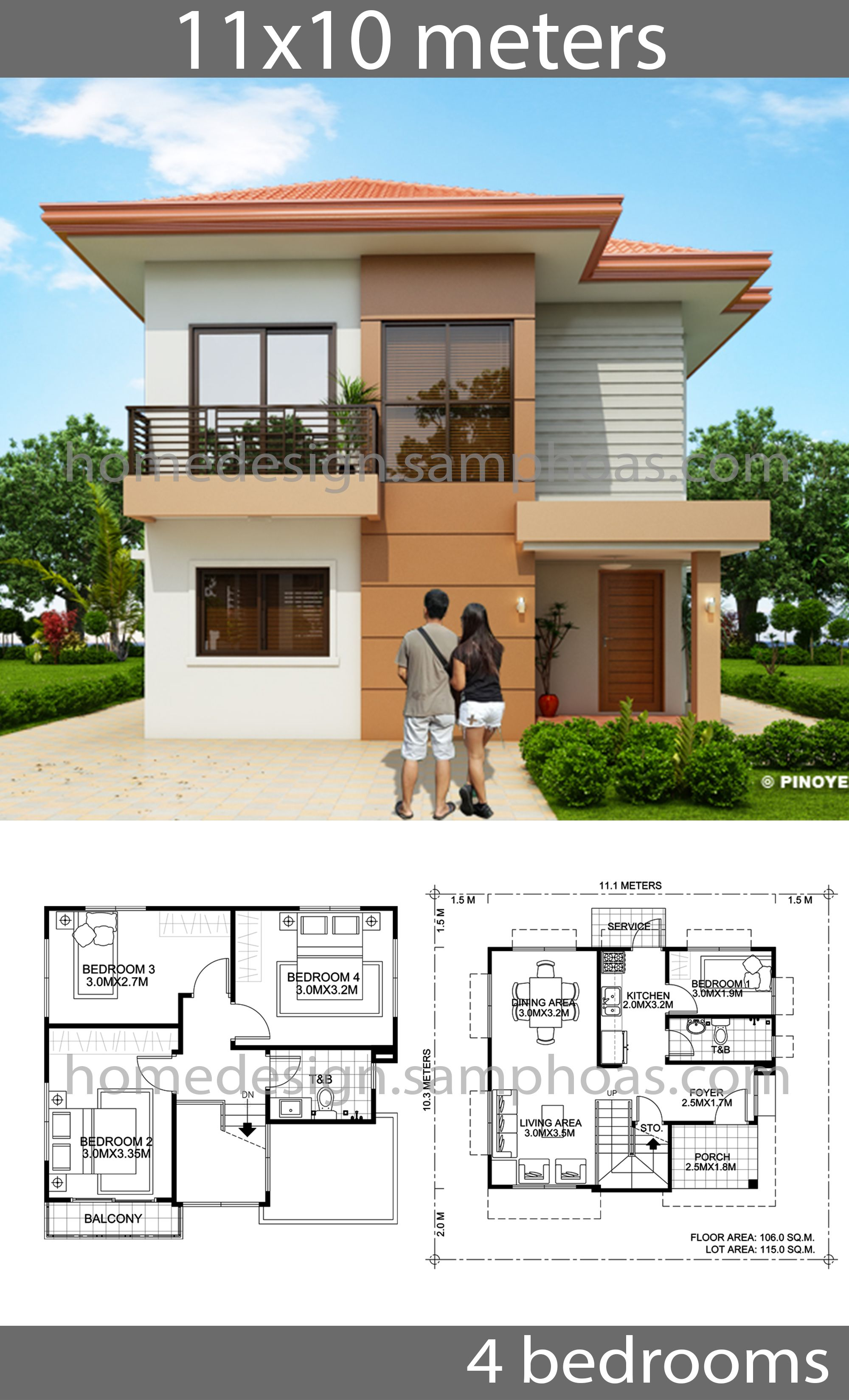 House Design Plans 10x11m With 4 Bedrooms House Idea In 2020 Affordable House Plans Duplex House Design Bungalow House Design