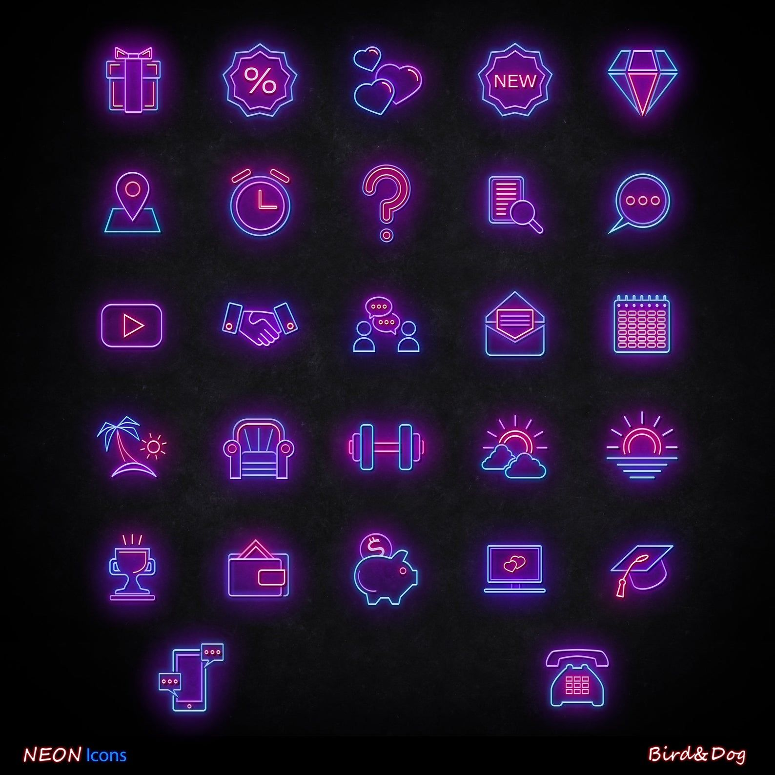 56 Instagram story Highlight covers / Neon icons for