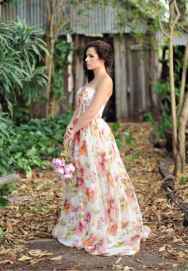 Floral patterned, floor length bridesmaid dresses, a great look ...