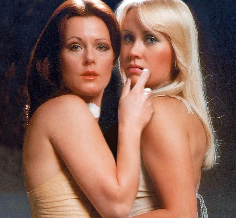 Agnetha Fältskog (right) with Anni-Frid Lyngstad - 1970s