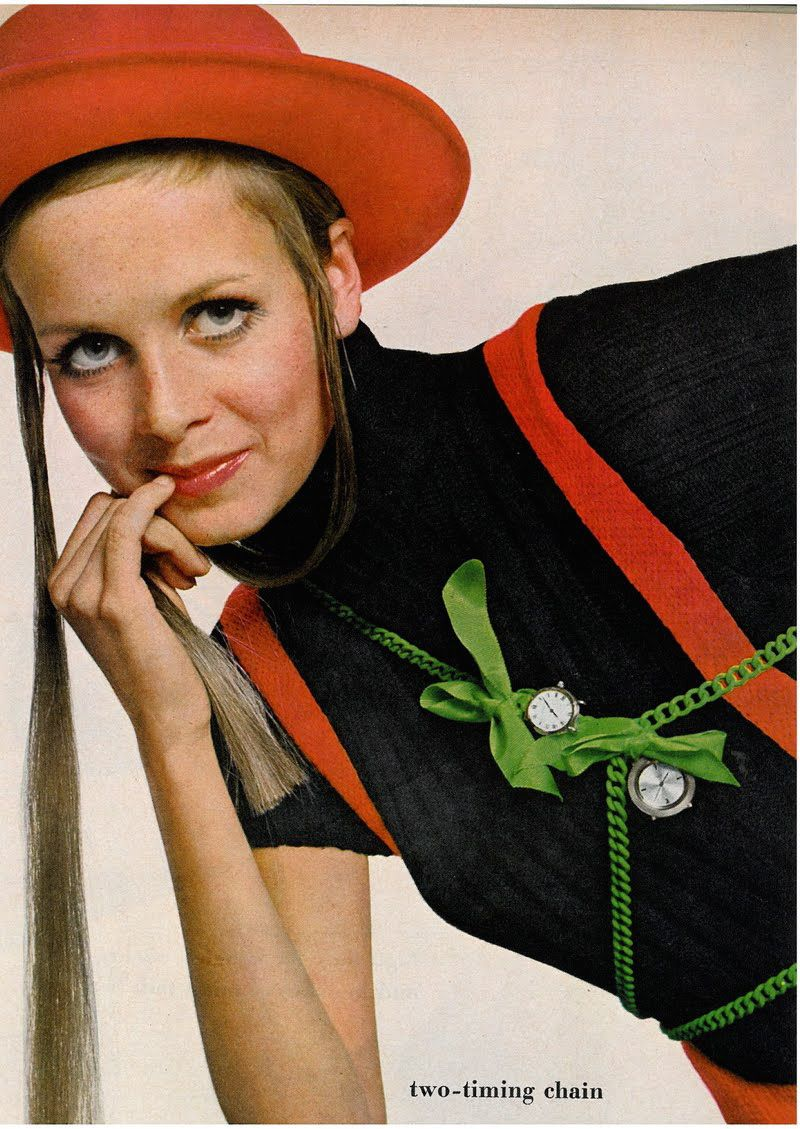 US Vogue November 15, 1967Accessories That Make Fashion Tick—Winding Up On TwiggyPhoto Bert SternModel Twiggy