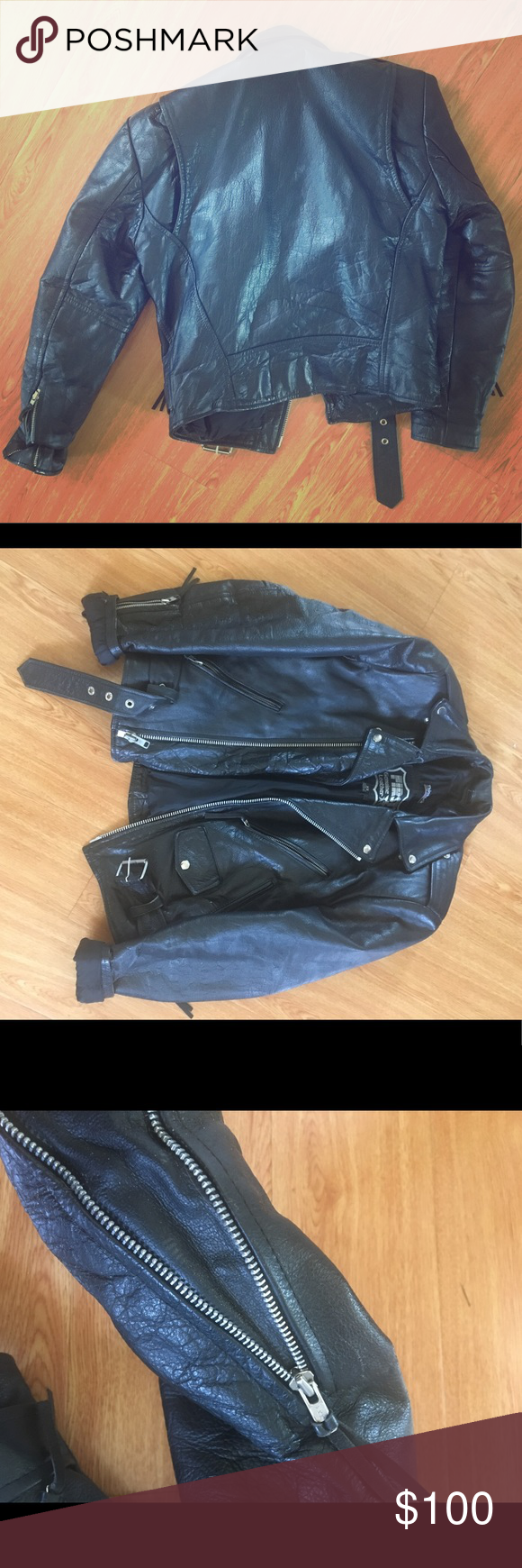 """Xs Men's leather jacket Thinsulate lined, polyester padded, 100% leather outside. XS Men's leather motorcycle jacket. Excellent condition. Shoulder to shoulder seam: 19"""", across chest armpit to armpit: 17"""", sleeves: 2', shoulder armhole circumference: 9.5"""", waist: 17"""" Jackets & Coats"""