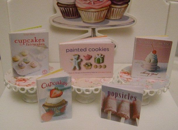 Cupcakes Cookies Popsicles Baking COOKBOOKS  Dollhouse Miniature 1/12 Scale. $15.00, via Etsy.