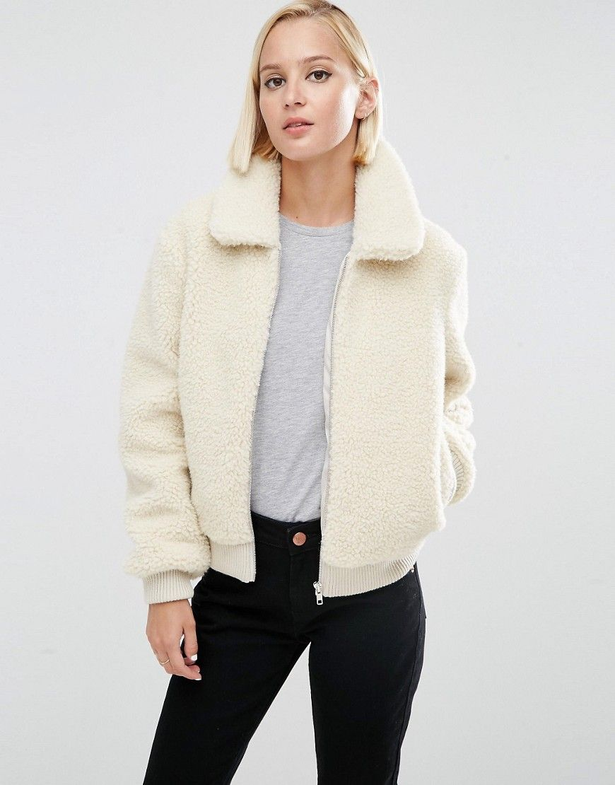 Buy it now. ASOS Borg Bomber Jacket - Cream. Bomber jacket by ASOS ...