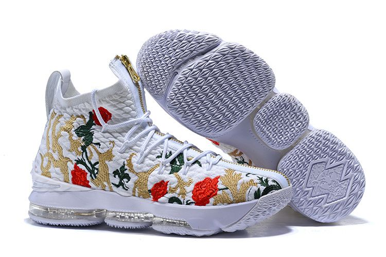 58168b8d235 High Quality Nike LeBron 15 Pride of Ohio White flowers Men s Sneakers  Basketball Shoes