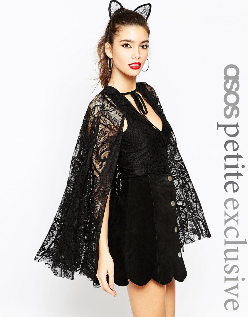 a321fe93b0 ASOS PETITE Halloween Playsuit with Lace Cape
