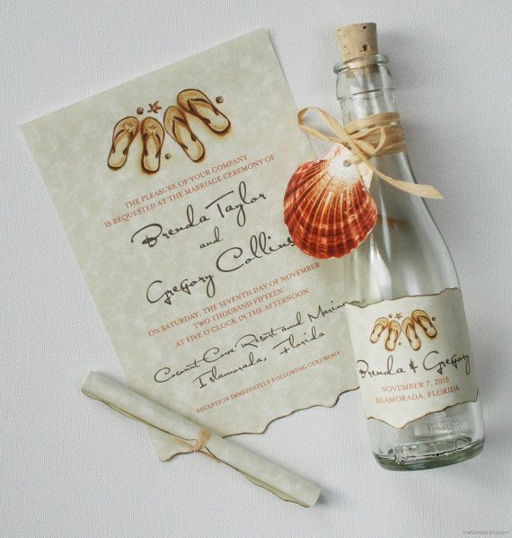 c52b568ebd5ff Beach Bottle Wedding Invitations - Bottle Invitations - Destination Wedding  Invitations - Flip Flops