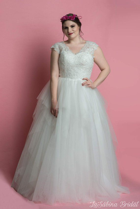 Plus Size Wedding Dress Ruched Tulle Wedding Dress Cap Sleeve Plus