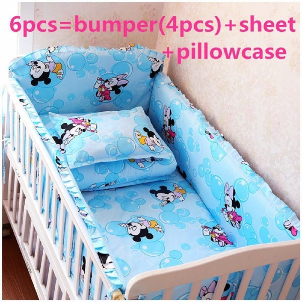 6 7 Pieces Crib Baby Bedding Set Nursery Style Mickey Mouse Blue