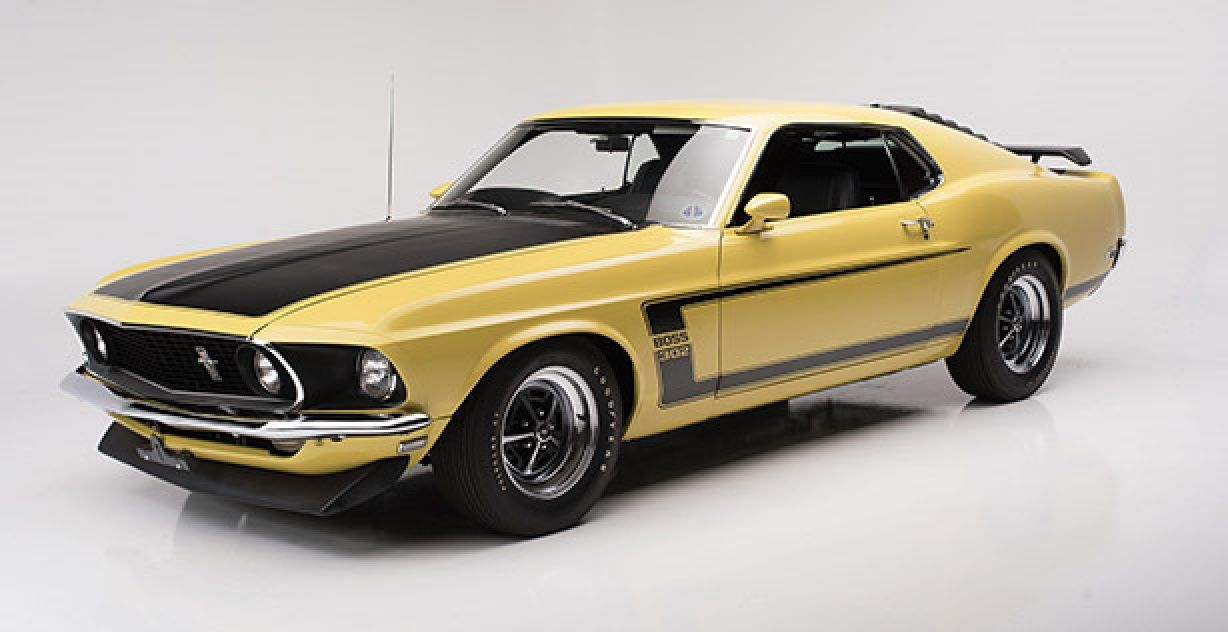 1969 Ford Mustang Boss 302 Yellow With Black Accent Stripes