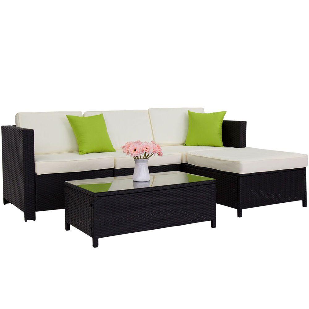 Kinbor 5pc Patio Sofa Set Rattan Wicker Garden Outdoor Furniture