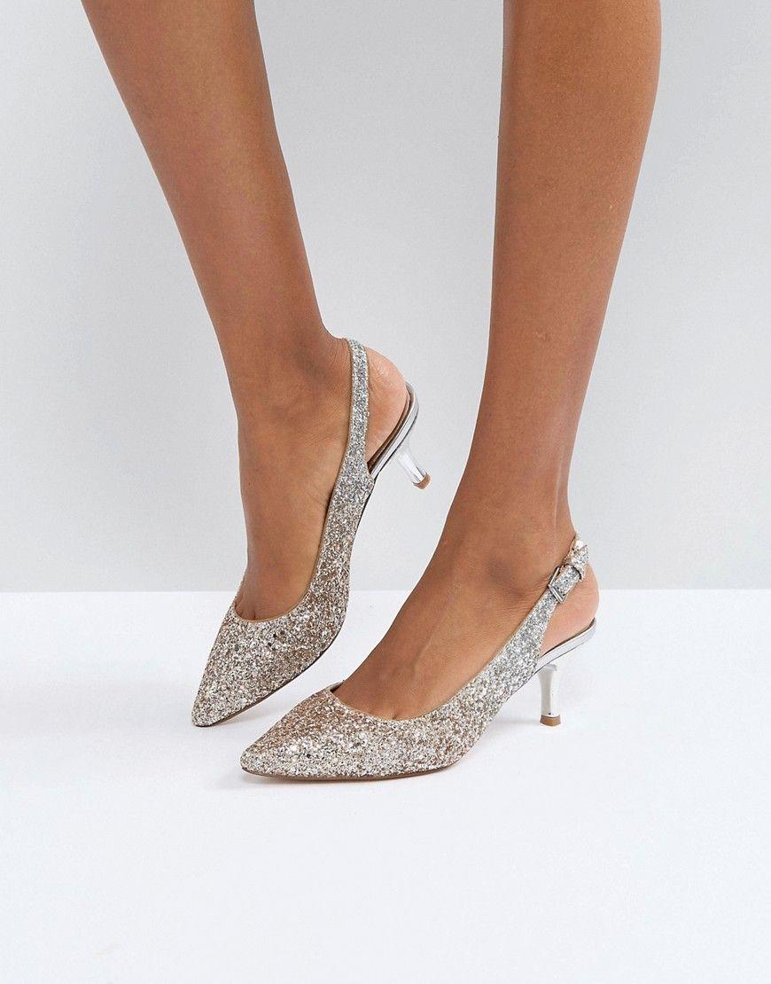 0e0a5110f88 Coast Glitter Pointed Kitten Heel Shoes - Silver