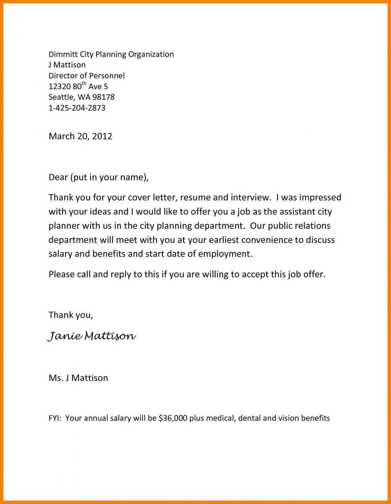 Inspirational Job Offer Letter Sample From Employer Cover Letter