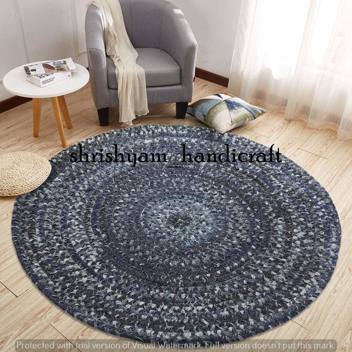 Antique 4 Feet Round Braided Round Rug Meditation Mat Etsy Rugs On Carpet Round Rugs Colorful Area Rug 4 feet round rug