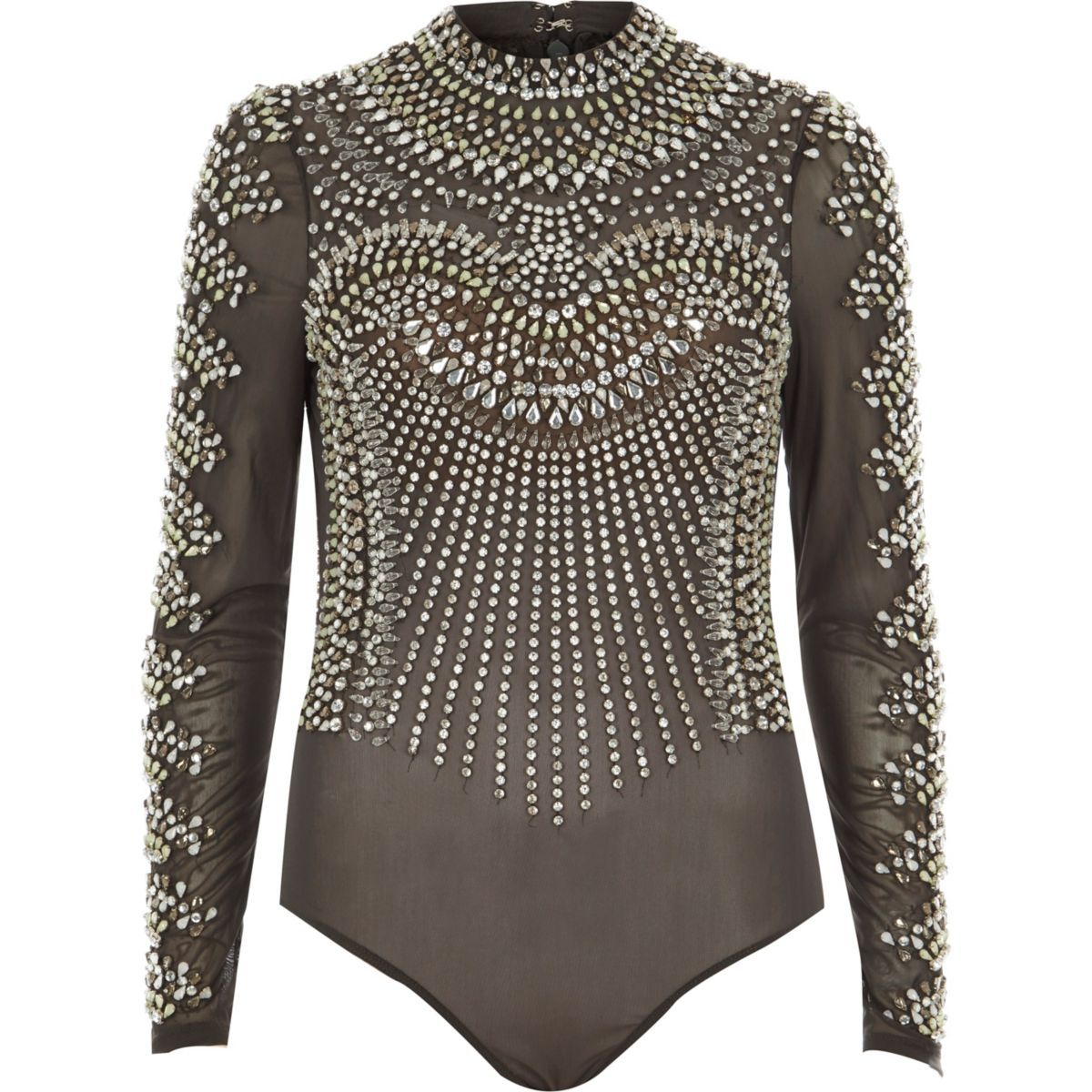 112c14bd  Holly Fulton for Design Forum Jewel embellishment High neck Long sleeve  Popper-fastened gusset Our model wears a UK 8 and is 175cm/5'9'' tall