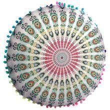 Indian Mandala Floor Pillows Round Bohemian Cushion Pillows Cover Case Color Textile Pillow 4...