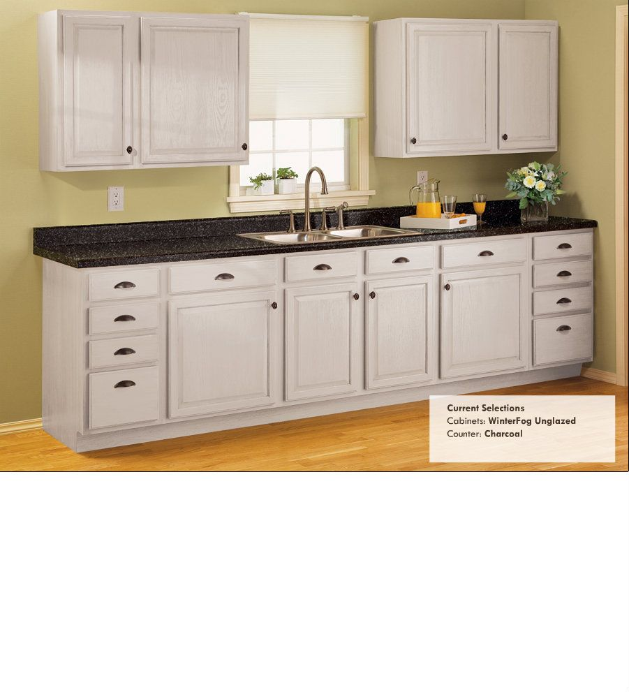 Inexpensive Kitchen Cabinets: Charcoal Countertop, Winter Fog Cabinets (unglazed