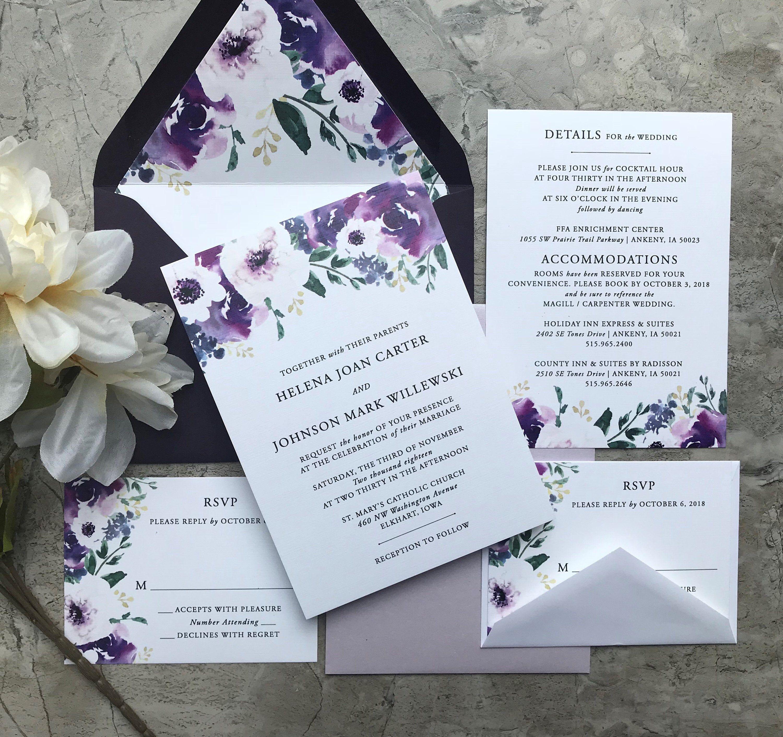 Purple Plum Floral Traditional Wedding Invitation Set Etsy Inexpensive Wedding Invitations Affordable Wedding Invitations Wedding Invitations