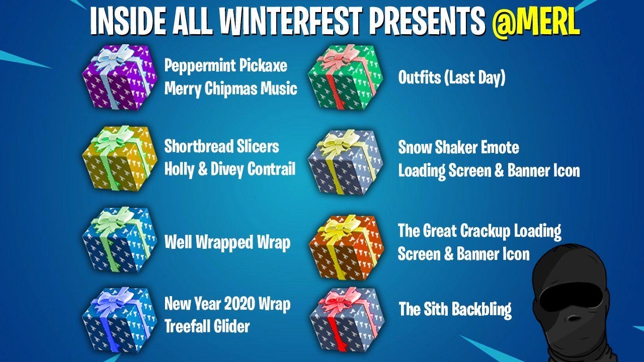 Fortnite Presents All Winterfest Christmas Presents Cheat Sheet Heres A Cheat Sheet For Opening All The Fortnite Winter Winterfest Holiday Stockings Fortnite