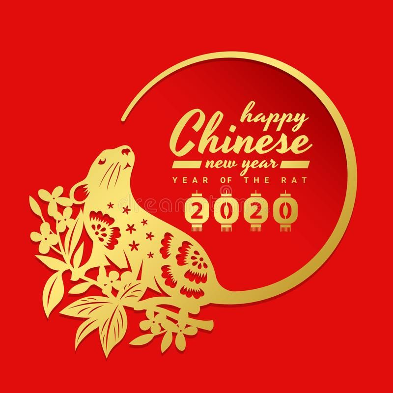China new year 2020 with gold rat chinese zodiac on Flower