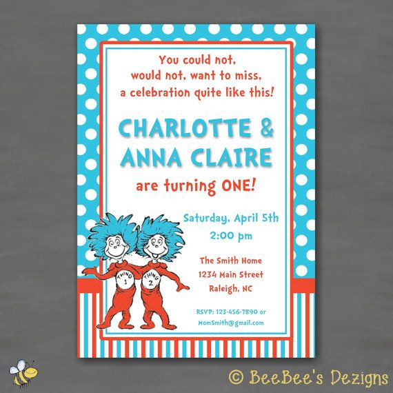 Dr Suess Thing 1 2 Twin Or Sibling Birthday Party Invitation By BeeBeesDezigns On Etsy