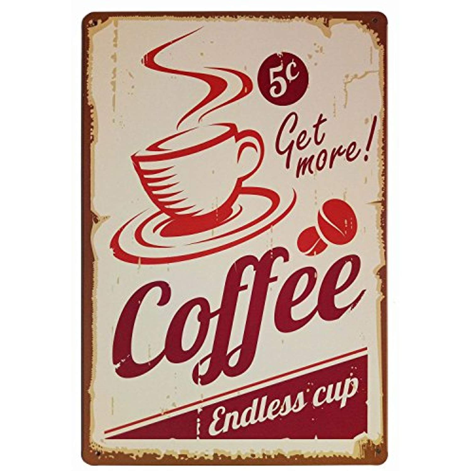 Erlood Get More Coffee Cup Retro Vintage Tin Sign 12 X 8 Want To Know More Click On The Image Coffee Wall Decor Wall Decor Stickers Vintage Tin Signs