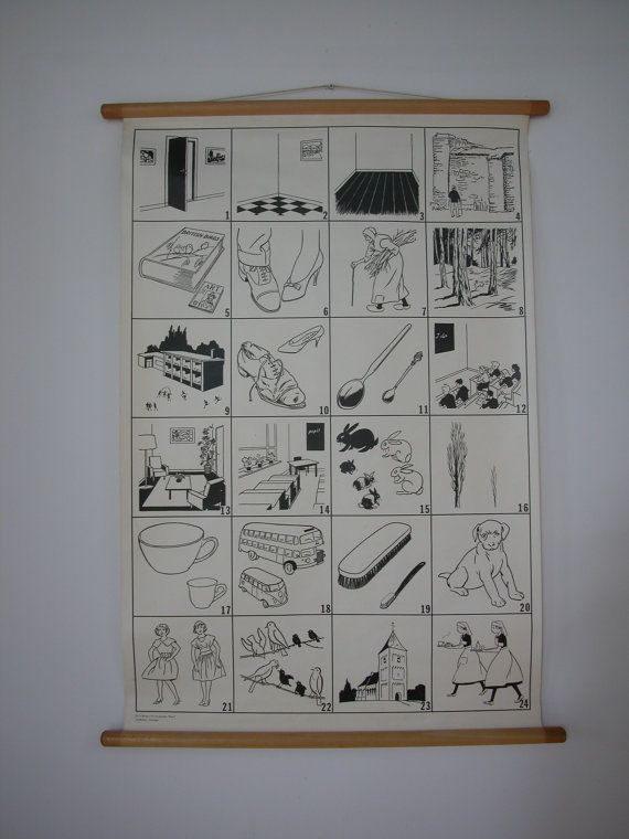 BLACK and WHITE pull down SCHOOL Chart original 1960s print on canvas Chart 2