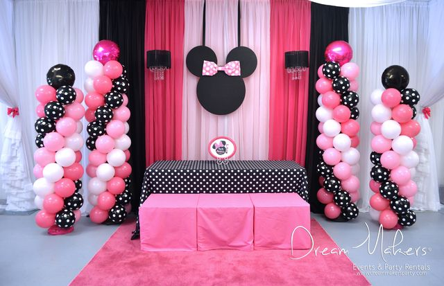 Beautiful Balloons And Decorations At A Minnie Mouse Girl Birthday
