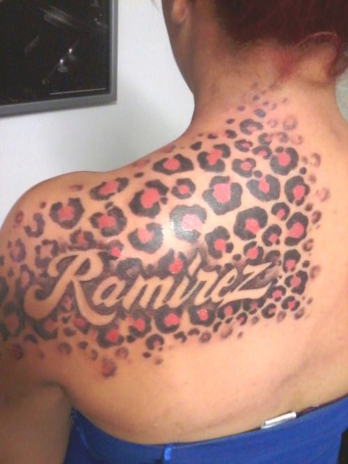 Some leopard print tattoo i did dark brown and pink d for Leopard tattoo on thigh