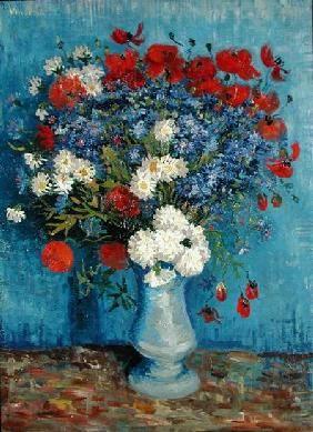 Vincent Van Gogh Stillleben Vase Mit Kornblumen Und Mohnblumen Idee Verf Bloemenschilderijen Verfkunst