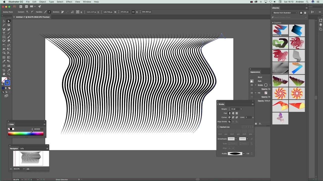Illustrator blend tool and width profiles and strokes for