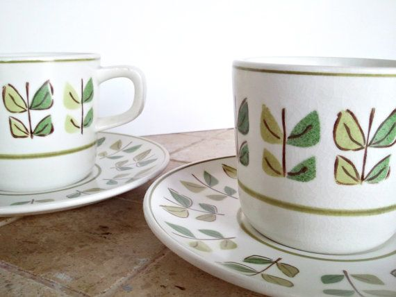 Mikasa cups & saucers. Green leaves.