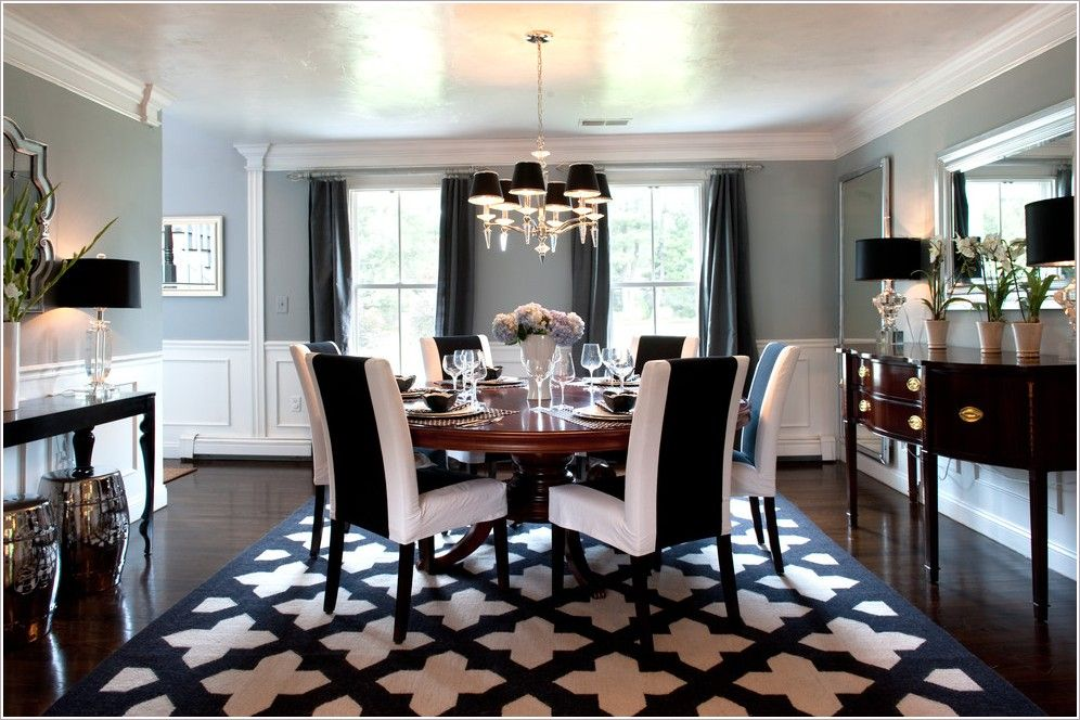 Dining Room Traditional Boston Area Rug Black Chandelier