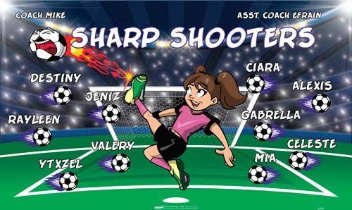 Sharp-Shooters-42328 digitally printed vinyl soccer sports team banner. Made in the USA and shipped fast by BannersUSA. www.bannersusa.com