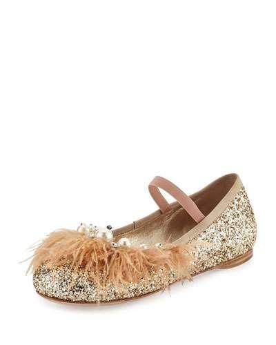 a58d3a3330d7 MIU MIU Feather-Trim Glitter Ballerina Flat.  miumiu  shoes  flats ...