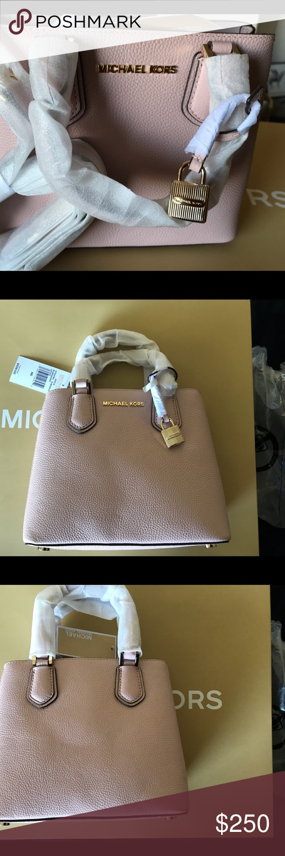 6951ac7f83753e Michael Kors Adele MD Leather Messenger Bag Michael Kors Adele MD Leather  Messenger Bag Blossom/
