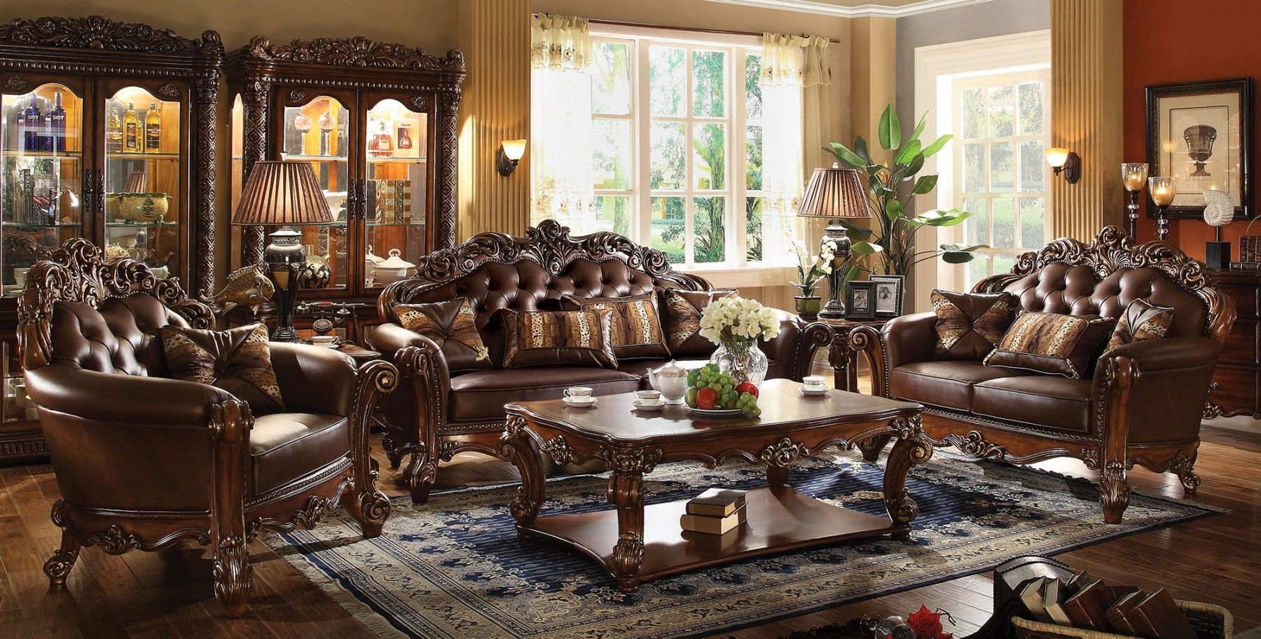 Formal Sofas For Living Room Lazy Boy Vendome Sofa Loveseat Set In Ornate Dark Brown Cherry Faux Leather