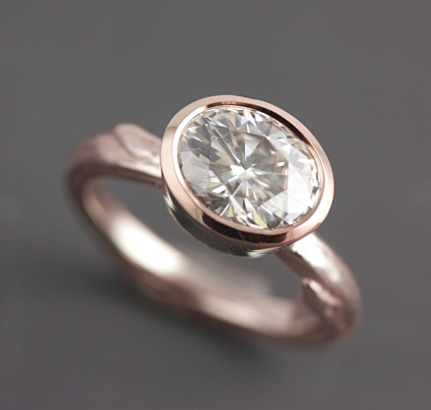 Recycled Eco Friendly Rose Gold Twig Ring with Oval Moissanite