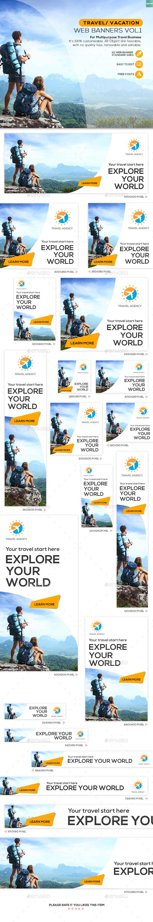 Travel / Vacation Web Banner Template PSD #design #ads Download: http://graphicriver.net/item/travel-vacation-web-banner-vol1/13754811?ref=ksioks